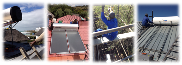 Solar water heater installers hard at work